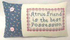 Friend Cross Stitch Mini Shelf Pillow Friend Gift by luvinstitchin4u on Etsy