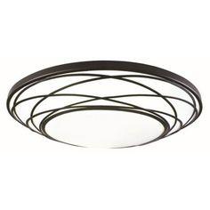 Portfolio 19-in W Black Integrated LED Deco Ceiling Flush Mount