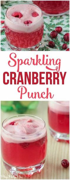 This cranberry raspberry holiday punch recipe looks delicious, a perfect holiday party drink!