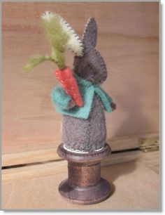 Cotton Reel Rabbit - An empty wooden spool for cotton thread with added felt Rabbit with carrot pincushion - click thru for more