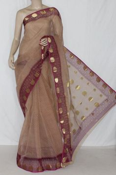 Beige Maroon JP Kota Doria Printed Cotton Saree (without Blouse) Zari Border & Pallu 15256