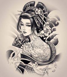 Geisha Design By 💥 💥 Geisha Tattoos, Geisha Tattoo Design, Japan Tattoo Design, Japanese Geisha Tattoo, Japanese Tattoo Designs, Japanese Sleeve Tattoos, Japanese Kimono, Japanese Art, Hanya Tattoo