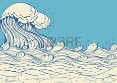 Zee golven Vectorillustratie van symbool van de natuur op wit Stockfoto