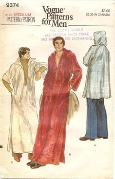 Mens Caftan With or Without Hood in 3 Lengths Uni-Sex Caftans Pullover Robes Vogue Sewing Pattern 9374 Size Large Bust/Chest 42 44 FF Mens Sewing Patterns, Vogue Patterns, Vintage Patterns, Vintage Vogue, Vintage Men, Vintage Fashion, Vogue Men, Casual Wear For Men, Costume Patterns