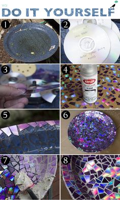 DIY: Prato Mosaico – Keep up with the times. Cd Diy, Cd Mosaic, Mosaic Crafts, Mosaic Birdbath, Diy Home Crafts, Creative Crafts, Decor Crafts, Recycled Cd Crafts, Crafts With Cds