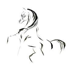 Cheval Art aquarelle abstraite imprimer cadeau pour cheval amateur Etalon noir stylo et encre minimaliste Zen cheval murale art étalon arabe