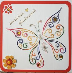 Schmetterling 13_2 - Motiv gefunden auf Pinterest - Doppelkarte mit Umschlag 13,5 x 13,5 cm