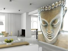 Buddha portrait wall mural living room preview