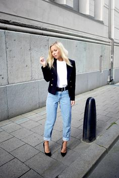 In My New Jacket[[MORE]]  Shoes – Asos,Blazer – H&M,Jeans – Levi's,Belt – H&M  Fashion By Victoria Tornegren
