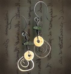 Silver, Turquoise, and Shell Earrings - contrariwise