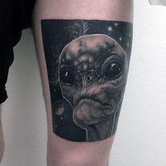 19 of the Best Alien Head Tattoos Ever Alien Tattoo, Head Tattoos, Tattoo Designs, Good Things, Armadillo, Tattooed Guys, Tattoo Patterns, Design Tattoos