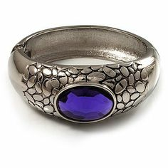 Rhodium Plated Purple Oval Glass Hinged Bangle - 18cm Length Avalaya. $17.55. Wear On: wrist. Material: glass. Type: hammered. Metal Finish: rhodium plated. Occasion: anniversary, casual wear, cocktail party