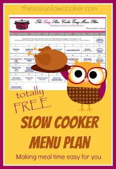 Serve your family a different slow cooker meal every day. Get our FREE Slow Cooker Family Friendly Menu Plan for  November.
