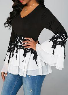 Black White Blouses For Women V Neck Flare Sleeve Chiffon Panel Blouse Stylish Tops For Girls, Trendy Tops For Women, Blouses For Women, Blazers, Chiffon, Fashion Outfits, Womens Fashion, Fashion Blouses, Trendy Fashion