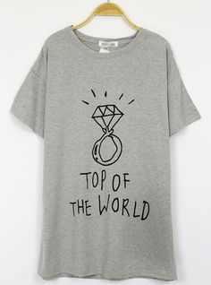 Gray Diamond Ring Short-sleeved T-shirt$36 All blouses are 20% off now, code: blouse20 !  http://www.udobuy.com/category-37-b0.html