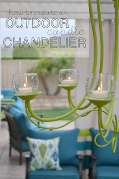 Easy upcycle to create an Outdoor Candle Chandelier for perfect patio lighting http://www.tinysidekick.com/diy-outdoor-chandelier/?utm_campaign=coscheduleutm_source=pinterestutm_medium=TinySidekick%20(%22CrAfTy%202%20ThE%20CoRe~DIY%20GaLoRe%22)utm_content=DIY%20Outdoor%20Chandelier%20%7Bprogress%20in%20the%20outdoor%20living%20room%7D #outdoorliving #outdoordecor #patio