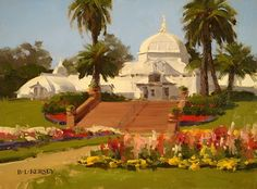 Summer Blooms, Conservatory of Flowers by Laurie Kersey Oil ~ 9 x 12