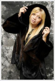 Black Mink Fur Hoodie