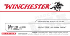 Winchester 9mm Luger 115gr Jacketed Hollow Point.Winchester USA ammunition was developed to provide excellent performance at an affordable price for the high volume shooter. - See more at: http://www.precisionsouthammo.com
