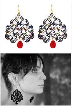 Lace Earrings 'Nuage Mondrian' Lace Earrings, Drop Earrings, Mondrian, You Look Pretty, Jewelry Making, Make It Yourself, Jewellery, Accessories, Beautiful