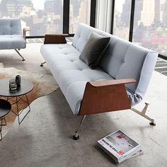 Divano+letto+Clubber+in+tessuto+design+moderno+scandinavo+210+cm