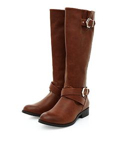 Tan Cross Buckle Strap Knee High Boots  | New Look