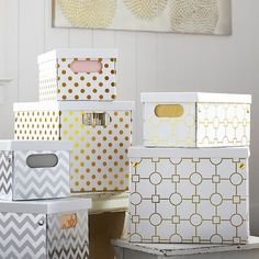 Metallic Printed Storage Bins | PBteen