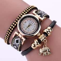 Women's Watch Fashion Gold Elephant Pendant Bracelet Watch //Price: $8.34 & FREE Shipping //     #elephantsofinstagram