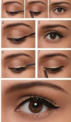 How to Apply Black and Goldish Eyeliner