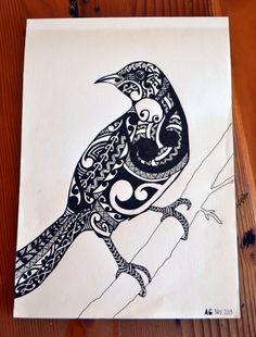 Items similar to Tui bird print on Etsy Painting For Kids, Art For Kids, Tui Bird, Maori Patterns, Flax Flowers, Maori Designs, New Zealand Art, Jr Art, Maori Art