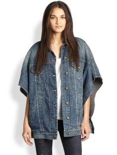 R13 - Trucker Poncho-Style Denim Jacket
