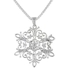 Southern Gates Snowflake Filigree Necklace in Sterling Silver