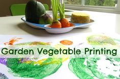 Vegetables Gardening Encourage healthy eating and creativity with this simple activity for kids - Vegetable printing.Use vegetables from your garden to print with this fun summer art project. Craft Activities For Kids, Preschool Activities, Montessori Preschool, Motor Activities, Preschool Learning, Olivers Vegetables, Healthy Habits, Healthy Recipes, Healthy Food