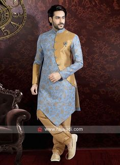 Blue Indo Western with Golden Bottom. Mens Indian Wear, Indian Groom Wear, Indian Men Fashion, Mens Fashion Wear, Groom Fashion, Sherwani For Men Wedding, Wedding Dresses Men Indian, Wedding Dress Men, Sherwani Groom
