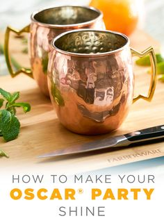 Metallics are a major trend this year and so are Moscow Mules. Combine the two and impress your guests by serving them the hottest (cold) cocktail in town. Start by filling a copper mug with lots of ice, then add the juice of half a lime, an ounce of vodk Copper Moscow Mule Mugs, Copper Mugs, Alcohol Mixers, Western Kitchen Decor, Cocktail Ideas, Cooking Supplies, All Things New, Oscar Party, Ginger Beer