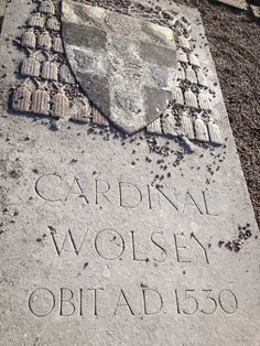 Wolsey memorial on the grounds of what was Leicester Abbey, which was destroyed in the Dissolution of the Monastaries.