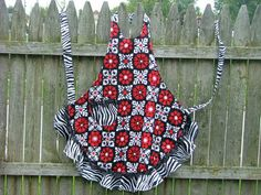 FULL APRON Red and Black with ZEBRA Ruffle by georgiamarbles, $24.50