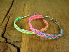 Braided Rainbow Neon Cord and Bullet Friendship by rockspapermetal, $15.00