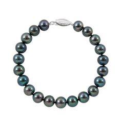 """6.0-6.5mm Black Freshwater Pearl Bracelet """"A"""" with Sterling Silver Gift Box Joy De Mer. $23.00. .925 Sterling Silver Clasp. Free Shipping. 7"""" Black Freshwater Pearl Bracelet. """"A"""" Quality Pearls, 100% Silk Thread. Includes Gift Box, Bag, Cleaning Kit, Pearl Care and Information Guide"""