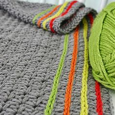 #Crochet Cute way to add lines of color to a blanket or scarf.--Love this idea because I adore gray but hate making anything out of bland colors.