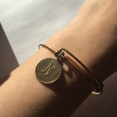 """Alex and Ani gold initial bracelet Alex and Ani gold """"N"""" initial bracelet Alex & Ani Jewelry Bracelets"""