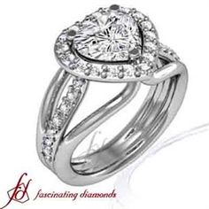 Heart Shaped Halo Ideal Cut Diamond Engagement Ring Pave Set