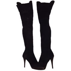 Pre-owned Stuart Weitzman Hiho Thigh High Black Boots featuring polyvore, women's fashion, shoes, boots, black, zipper boots, over the knee boots, black boots, platform boots and stuart weitzman boots