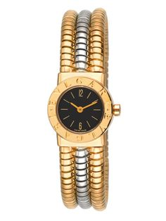 Bulgari Yellow Gold & White Gold Cuff Watch by Estate Watches Bulgari Jewelry, Gold Jewelry, Bvlgari Watches, Fine Watches, Dream Watches, Luxury Watches, Expensive Watches, Beautiful Watches, Bracelets For Men