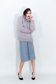 These Grey Cropped Pants pants are finished with press creases to balance the wide-leg silhouette. Thick Sweaters, Cropped Pants, Chemistry, Midi Skirt, Legs, Knitting, Purple, Grey, Knits