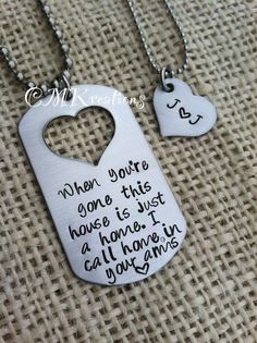Hand stamped dog tag with cut out heart his and her necklace ...