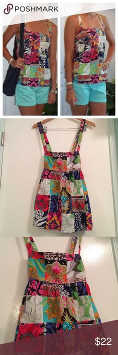 J. Crew Talitha patchwork top Patchwork cami tank with criss cross back straps. Each top is unique with cheerful bright vibrant colors and patterns. Look cool while staying cool this top is sure to conjure up your inner hippie festival girl ✌️ J. Crew Tops