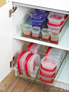 Reusable food containers are a must for big families who generate plenty of leftovers and packed lunches. But keeping the containers and lids in order can be a bit chaotic. Ditch the clutter with clear storage bins to keep your container sets together and easily accessible at all times.