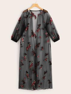 To find out about the Floral Embroidered Raglan Sleeve Sheer Mesh Kimono at SHEIN, part of our latest Kimonos ready to shop online today! Beachwear For Women, Sheer Fabrics, Spandex Material, Fashion News, Spring Fashion, Sleeves, Model, Clothes, Floral