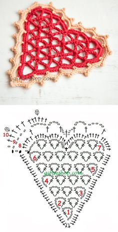 Crochet Doily Heart - Chart ❥ 4U // hf